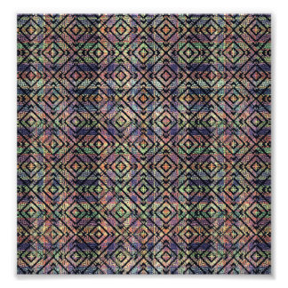 Multicolored Ethnic Check Seamless Pattern Photographic Print