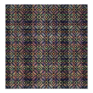 Multicolored Ethnic Check Seamless Pattern Poster
