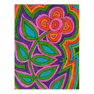multicolored flower at the handle, popart postcard