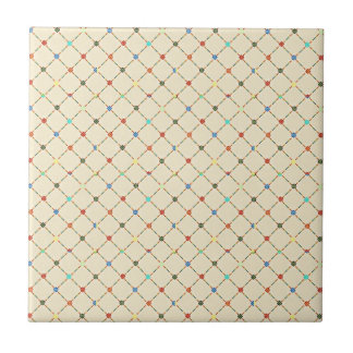 Multicolored Flowers And Square Geometric Pattern Tile