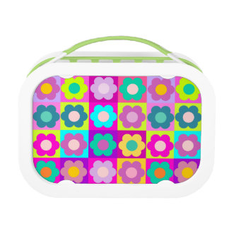 Multicolored flowers lunch boxes