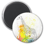 Multicolored Funky Giraffe (K.Turnbull Art) 6 Cm Round Magnet