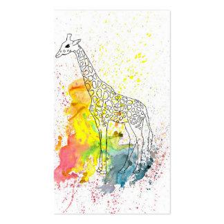 Multicolored Funky Giraffe (K.Turnbull Art) Pack Of Standard Business Cards