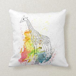 Multicolored Funky Giraffe (K.Turnbull Art) Cushion