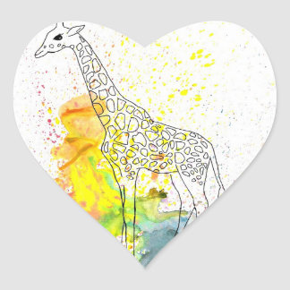 Multicolored Funky Giraffe (K.Turnbull Art) Heart Sticker