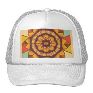 Multicolored geometric flourish cap