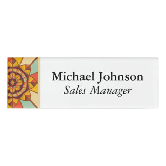 Multicolored geometric flourish name tag
