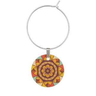 Multicolored geometric flourish wine glass charm