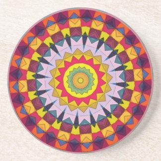 Multicolored Geometric Kaleidoscope Coaster