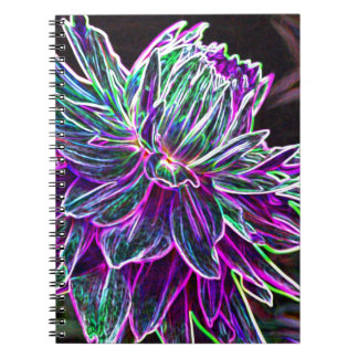 Multicolored Glowing Edge Dahlia Products Notebooks