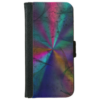 Multicolored Grungy Rainbow Starburst Abstract Art iPhone 6 Wallet Case