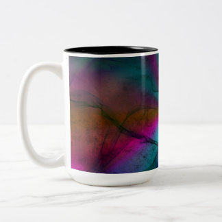 Multicolored Grungy Rainbow Starburst Abstract Art Two-Tone Coffee Mug