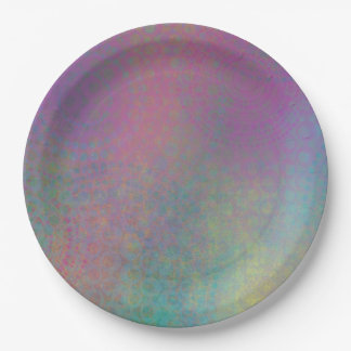 Multicolored Grungy Texture Abstract Remix Paper Plate