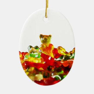 Multicolored Gummy Bears Ceramic Oval Decoration