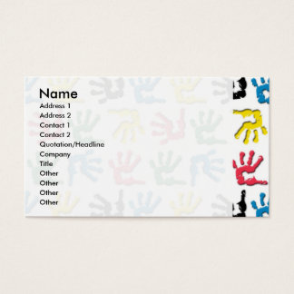 Multicolored handprints pattern business card