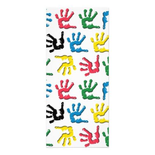 Multicolored handprints pattern full color rack card