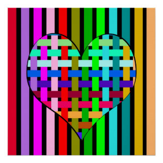 Multicolored heart poster