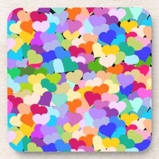 Multicolored Hearts Confetti Coasters