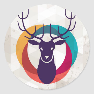 Multicolored Hipster Deer Gear Classic Round Sticker