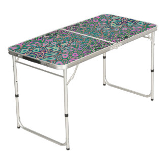 Multicolored Hologram Butterfly Fractal Abstract Beer Pong Table