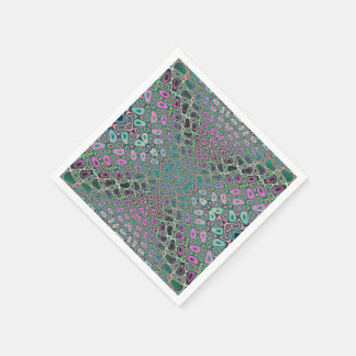 Multicolored Hologram Butterfly Fractal Abstract Disposable Serviettes