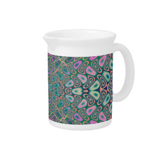 Multicolored Hologram Butterfly Fractal Abstract Pitcher