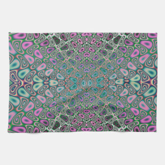 Multicolored Hologram Butterfly Fractal Abstract Tea Towel