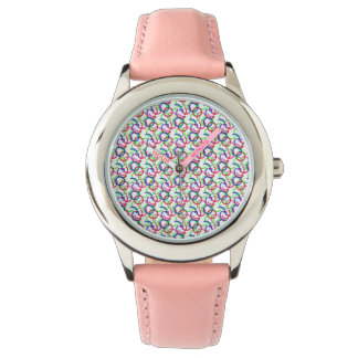 Multicolored Joining Circles Pattern Wristwatch