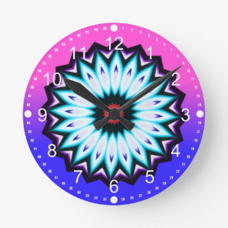 Multicolored Kaleidoscope w/Pink and Blue Gradient Round Clock