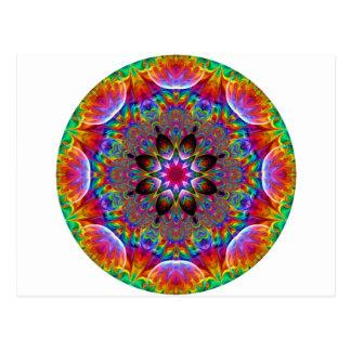 Multicolored Kaleidoscopic Floral Starburst Postcard