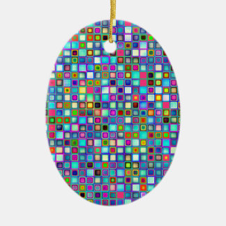 Multicolored 'Kindergarten' Retro Tiles Pattern Ceramic Ornament