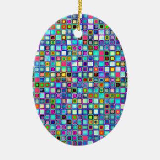 Multicolored 'Kindergarten' Retro Tiles Pattern Ceramic Ornament