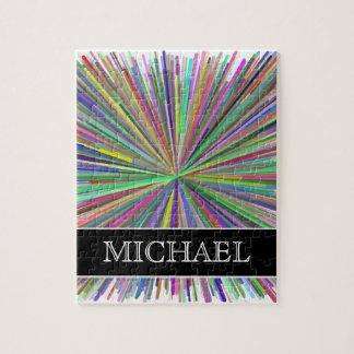 Multicolored Line Burst Pattern + Custom Name Jigsaw Puzzle