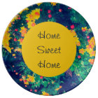 Multicolored meadow whimsical wild daisy flowers plate