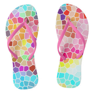 Multicolored Mosaic Style Geometric Pattern Thongs