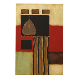 Multicolored Panel Painting with Brown Leaf