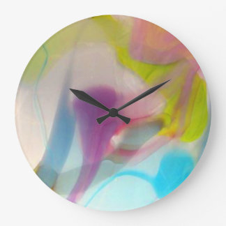 Multicolored pastel blown glass clocks