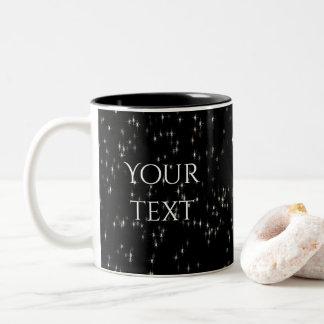 Multicolored pastel stars / black background Two-Tone coffee mug