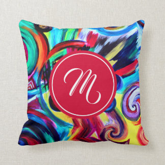 Multicolored Pattern with Monogramm Cushion