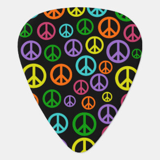 Multicolored Peace Signs Guitar Pick