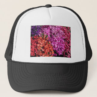 Multicolored petunia flowers texture background trucker hat