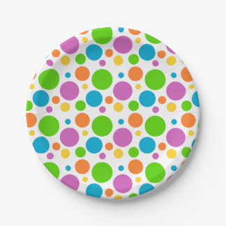 Multicolored Polka Dot Pattern 7 Inch Paper Plate