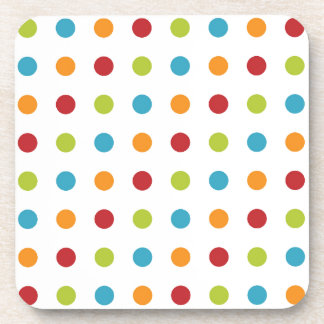 Multicolored Polka Dots Drink Coaster