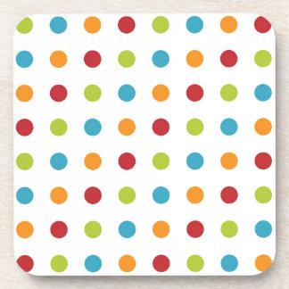 Multicolored Polka Dots Drink Coaster