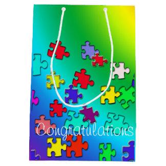 Multicolored puzzles medium gift bag