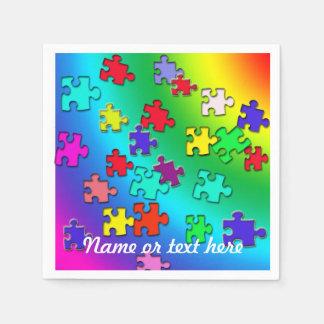 Multicolored puzzles paper napkin