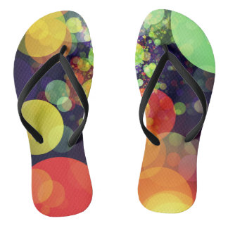 Multicolored Rainbow Circle Lights Pattern Thongs