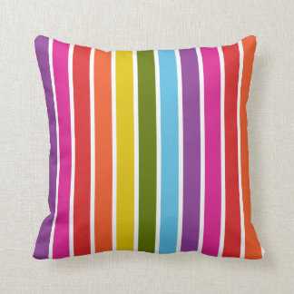 Multicolored Rainbow Stripe Pattern Throw Pillow