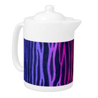 Multicolored rainbow zebra stripe teapot