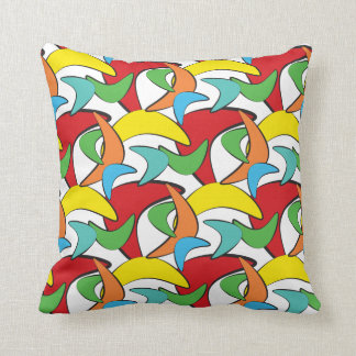 Multicolored Retro Boomerang Pattern Cushion
